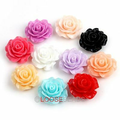 60pcs Resin Rose Flat Back Polymer Fimo Cabochons Mixed Color loose beads 18mm