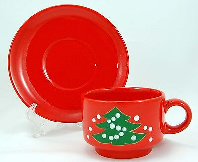Waechtersbach CHRISTMAS TREE Flat Cup and Saucer Set 2.5 in. Red Christmas Tree