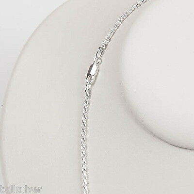 """18"""" 45cm Sterling SILVER 925 Diamond Cut Twisted 2mm thick ROPE CHAIN Necklace"""