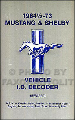 1964-1973 Ford Mustang and Shelby Serial Number Decoder VIN and Door Plate