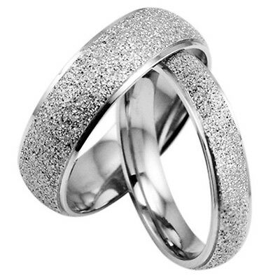 R038 Fine frosted Titanium Steel Promise Ring Couple Wedding Bands lover gift
