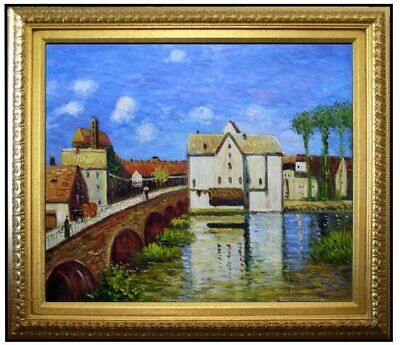 Framed, Alfred Sisley Bridge of Moret Repro, Hand Painted Oil Painting 20x24in