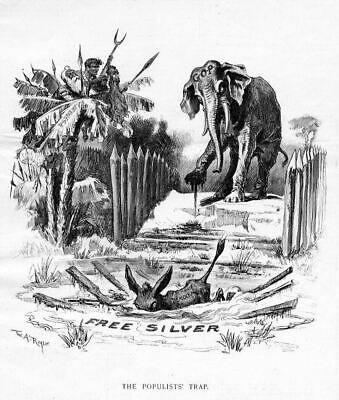 Republican Elephant And Democratic Donkey By Thomas Nast Political Free Silver