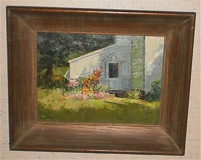 Back Door & Flowers in Sunlight Oil Painting-1960s-Frank Zuccarelli