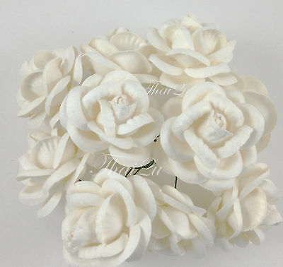 25 White Large Roses Mulberry Paper Flower Wedding DIY Crafts Scrapbook R60-15