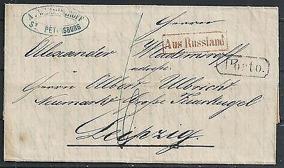 Russia 1862 folded letter St.Petersburg AUS RUSSLAND to Leipzig
