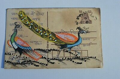 A Lovely Old Rajasthan Miniature Painting Indian Postcard Of Two Peacocks 85