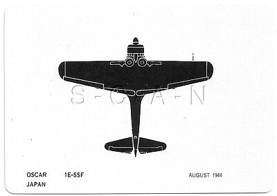 WWII Double Sided Recognition Photo Card- Japan- Airplane- Oscar Fighter- Aug 44
