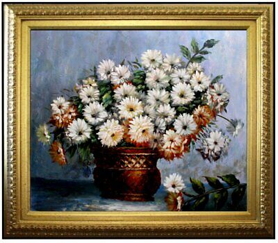 Framed, Claude Monet Chrysanthemums Repro, Hand Painted Oil Painting 20x24in