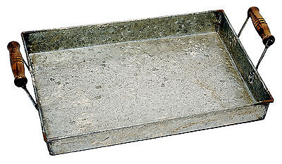 Distressed Galvanized Metal Serving Tray w/ Wood Handles Home Decor NEW B33298