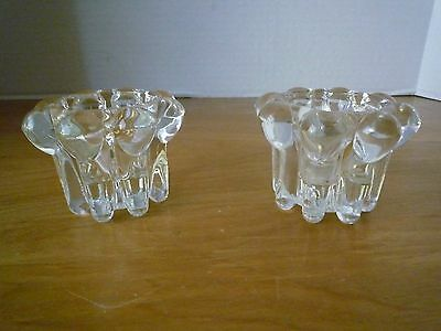 Two Vintage Clear Crystal Boopie/ Bubble Taper Candle Holders