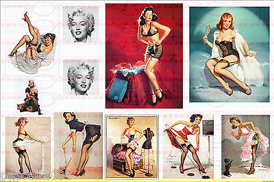 11 Bügelbilder Pin Up Retro Girls Marilyn  Nostalgie auf A4  NO. 1291   Vintage