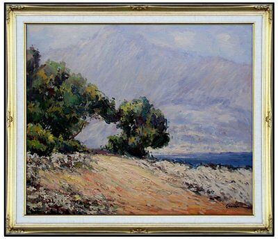 Framed, Claude Monet Cape Martin Repro, Hand Painted Oil Painting 20x24in