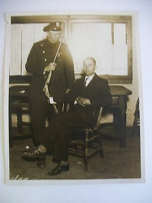 Vintage 1929 Crime Photo of Policeman and Criminal, Queens NY