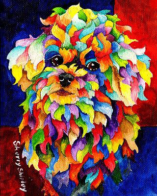 PARTY POODLE 8X10 DOG  print by Artist Sherry Shipley
