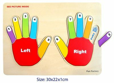 *NEW* Wooden Jigsaw Puzzle Left Right Counting Number Hands