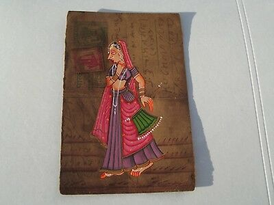 A Lovely Old Rajasthan Miniature Painted Indian Postcard Of A Indian Woman 95