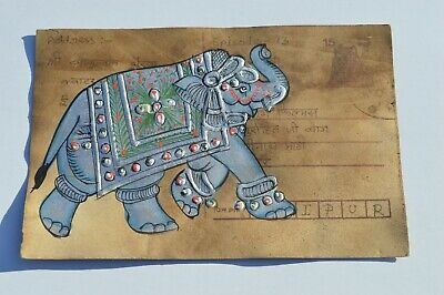 A Nice Old Rajasthan Miniature Painted Indian Postcard Of A White  Elephant  98