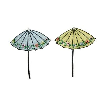 ID 3373AB Set of 2 Floral Umbrella Patch Rain Cover Embroidered Iron On Applique