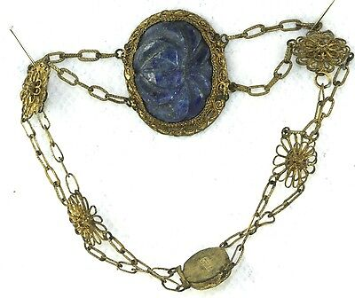 Vintage Antique Chinese Carved Lapis Brass Filigree Bracelet
