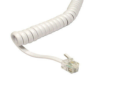 White Telephone Handset Cable - Curly / Coiled RJ10 2m Uncoiled 40cm Coiled