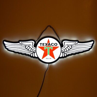 Neon Sign Texaco Fire chief  Motor oil gas station firefighter helmet firechief