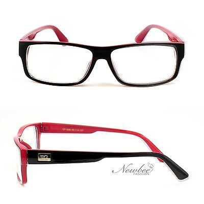Vintage Fashion Non Prescription Glasses with Black Red Frame and Clear Lens!