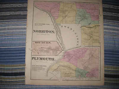 Antique 1871 Norriton Plymouth Township Montgomery County Pennsylvania Map Nr