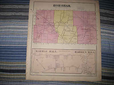 Antique 1871 Horsham Township Marble Hall Montgomery County Pennsylvania Map Nr