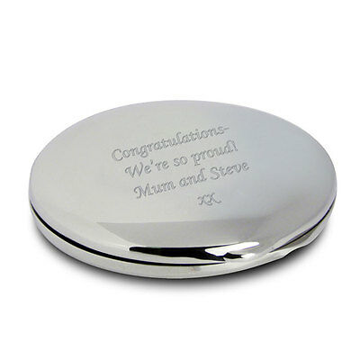 Personalised Silver Round Compact Mirror, Velvet Pouch-Engraved Free-Graduation