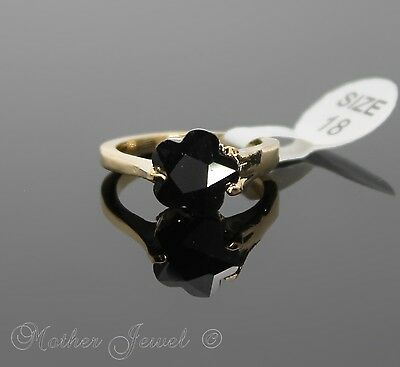 Glamorous Black Cz Flower Cut 9Ct Gold Plated Womens Dress Ladies Girls Ring