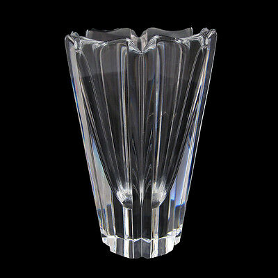 ORREFORS CRYSTAL VASE SIX SIDED HEXAGON SHAPED FLARES OUT TOWARDS TOP