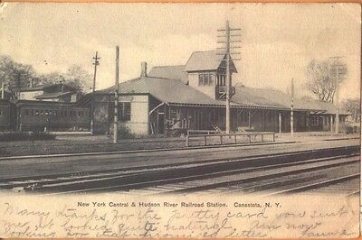 1906 NY Central & Hudson River Railroad Station Canastota New York NY postcard