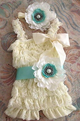 Vintage Girl Posh Petti Ruffle Romper hear-bow sash baby girl & girl outfit set