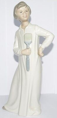 LLADRO / NAO Large 30cm Tall Young Boy Figurine Standing Fly Swatter Bed Gown