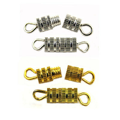 50 Gold & Silver Plated BARREL SCREW IN CLASPS 15mm - Jewellery Craft Findings