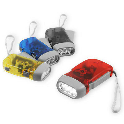 4x Pack Hand Crank All-Purpose LED Flashlight w' Squeeze Powered Recharge