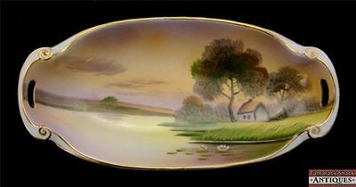 Early 1900s Hand Painted Nippon Morimura Handled Tray Cottage by Lake Scene