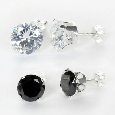 925 Sterling Silver Clear & Black Round Crystal Cubic Zirconia CZ Stud Earrings