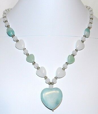 """Blue Amazonite Natural Gemstone Heart Pendant & Glass Bead 19"""" Necklace FN161f"""