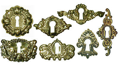 POLISHED STAMPED BRASS VICTORIAN KEYHOLE COVERS, 7 Styles, Sold in Lots of 2