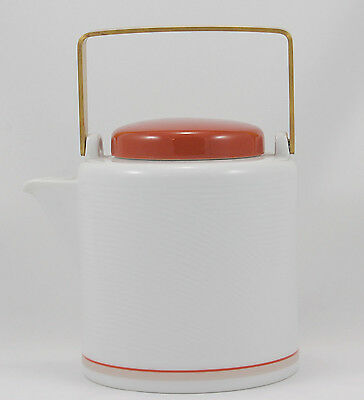 Dansk DAMASK – RED T3 Tea Pot and Lid 5.75 in. Tan Band Raised Curves Red Trim