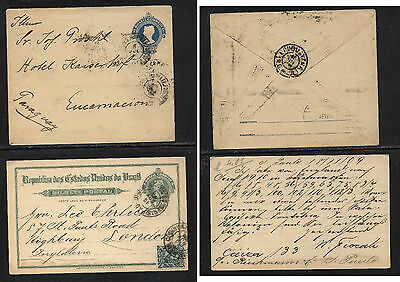 Brazil  postal envelope to Germany  and uprated postal card to London AT0611