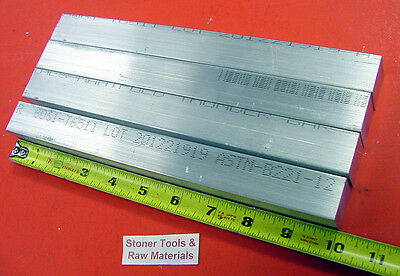 """4 Pieces of 1"""" X 1"""" SQUARE ALUMINUM 6061 T6511 FLAT BAR 10"""" long New Mill Stock"""