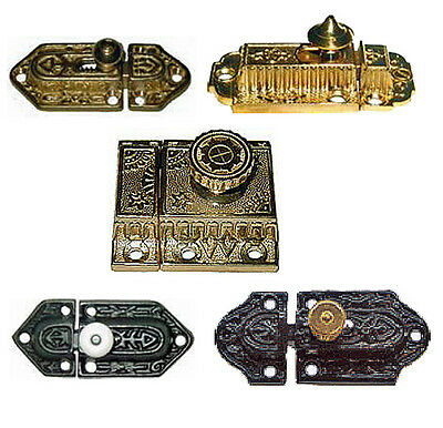 VICTORIAN STYLE CABINET LATCHES, Cast Brass or Cast Iron, Assorted Sizes