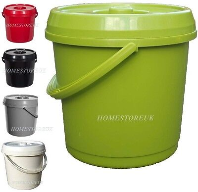 14 Ltr Plastic Bucket With Lid Handle For Food Storage Container Baby Nappy Bin
