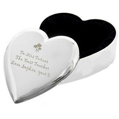 Personalised Flowers Motif Heart Trinket Box - Engraved Free - Christmas