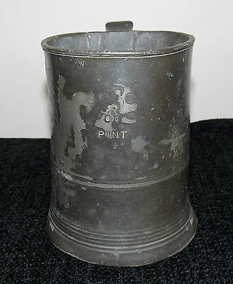 Pre 1826 Pewter Imperial Measuring Pint Tankard Jug Straight Side