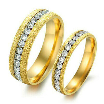 R056 Titanium Steel Crystal GP 18K GOLD Promise Ring Lovers Couple Wedding gift