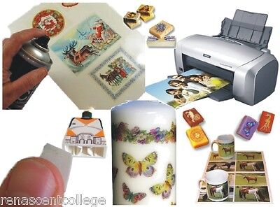 100 x WHITE INKJET Water Slide Decal Transfer PAPER Printable,Candle,Soap,Models